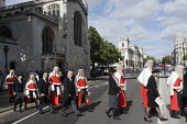 Lord Chancellors breakfast. Traditional procession of Judges to the Houses of Parliament to mark official start of year in the British legal system, London. High Court Judges in full ceremonial dress... - Stefano Cagnoni - 2010s,2017,ceremonial dress,ceremonies,ceremony,cities,City,CLJ,costume,costumes,Court,dress,elite,elitism,EQUALITY,Establishment,gown,gowns,High Court,High Court Judge,High Court JUdges,Houses,INEQUA