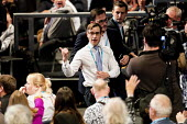 Lee Nelson AKA Simon Brodkin being ejected from the hall after giving Theresa May a P45, Conservative Party Conference, Manchester 2017 - Jess Hurd - 04-10-2017