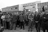 Mass picket at Con Mech Group, Woking, Surrey 1973 for recognition of the AEU. The union had been fined by the National Industrial Relations Court (NIRC) for refusing to call off the strike, and it wa... - Martin Mayer - 1970s,1973,AEU,anti union legislation,Con Mech,Court,dispute,DISPUTES,FACTORIES,factory,government,Industrial Relations Act 1971,laws,male,man,Mass,Mass Meeting,mass meetings,Mass Picket,member,member