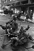 IRA Car bomb blast, Harrods, Knightsbridge, London, 1983. Three police officers and three members of the public were killed and 75 others injured after the car bomb attack - NLA - 1980s,1983,adult,adults,attack,attacking,AUTO,AUTOMOBILE,AUTOMOBILES,AUTOMOTIVE,Bomb,bombing,bombings,bombs,car,cars,catholic,catholics,cities,City,Conflict,Conflicts,damage,damaged,destroyed,destruct