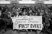 Civil servants first strike, against the wage restraint 1973. CPSA members rally Central Hall Westminster, London - NLA - 1970s,1973,activist,activists,against,banner,banners,CAMPAIGNING,CAMPAIGNS,cities,City,Civil servants,CPSA,DEMONSTRATING,Demonstration,EARNINGS,FEMALE,first strike,Income,inequality,living wage,London
