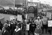 Low paid shopworkers USDAW protest against the wage restraint policy of the Heath government, London 1973. Prices up, fares up, rents up, fed up, says one of the placards - NLA - 1970s,1973,activist,activists,against,banner,banners,CAMPAIGNING,CAMPAIGNS,cities,City,DEMONSTRATING,Demonstration,EARNINGS,fares,FEMALE,government,Income,inequality,living wage,London,Low pay,Low Inc