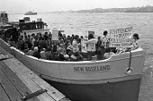 Canvey Island protest armada sets off from the island towards Westminster in a protest against Occidental oil refineries on the island and against pollution, 1973 - NLA - 1970s,1973,activist,activists,against,boat,boats,CAMPAIGNING,CAMPAIGNS,Canvey Island,capitalism,capitalist,child,CHILDHOOD,children,communities,community,Community Action Group,DEMONSTRATING,Demonstra