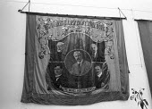 Durham Miners Association banner with Lenin, Keir Hardie and Ramsay Macdonald, Exhibition of banners in London.Tel 01789-262151 / 07831-121483 - NLA - 1970s,1973,banner,banners,communism,Communist Party,County Durham,Exhibition,Keir Hardie,Labour Party,Lenin,Leninist,Marxist,Marxists,member,member members,members,MINER,Miners,MINER'S,POL,political,P