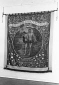 Exhibition of early trade union banners, this one for the tailors of Belfast, AUT, London, 1973 - NLA - 1970s,1973,adam and eve,AUT,banner,banners,Belief,bible,Biblical quote,biblical quotes,christian,christianity,christians,cities,city,conviction,Exhibition,faith,GOD,LIFE,London,member,member members,m