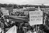 Protest against racism and the 1971 Immigration Act, Indian Workers Association, Hyde Park, London 1973 - NLA - 1970s,1971 Immigration Act,1973,activist,activists,against,Asian,Asians,BAME,BAMEs,banner,banners,bigotry,Black,BME,bmes,CAMPAIGNING,CAMPAIGNS,cities,City,DEMONSTRATING,Demonstration,Diaspora,DISCRIMI