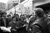 FBU members lobby pay talks, London, 1973 - NLA - 1970s,1973,activist,activists,CAMPAIGNING,CAMPAIGNS,DEMONSTRATING,Demonstration,disputes,EARNINGS,FBU,Income,industrial dispute,inequality,living wage,lobby,London,low pay,Low Income,low paid,low pay,