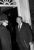 Jack Jones, TGWU, at the door of No 10, TUC delegation meeting Edward Heath during the crisis leading up to the general election, London, 1974 - NLA - 1970s,1974,CONSERVATIVE,Conservative Party,conservatives,crisis,Downing Street,Edward Heath,Jack Jones,London,male,man,meeting,MEETINGS,member,member members,members,men,people,person,persons,POL,poli