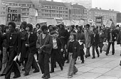 1974, School pupils strike and demonstration to demand release of The Brockwell Three who were arrested when the police lost control of a crowd in Brockwell Park, South London. The 3 were each sentenc... - NLA - 1970s,1974,activist,activists,adolescence,adolescent,adolescents,adult,adults,BAME,BAMEs,Black,Black and White,black youth,BME,bmes,boy,boys,Brixton,Brockwell 3,campaign,campaigning,CAMPAIGNS,child,CH
