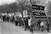 CND march from Aldermaston to London, 1974 - NLA - 1970s,1974,activist,activists,against,Aldermaston,Aldermaston march,Anti War,Antiwar,banner,banners,campaign,Campaign for Nuclear Disarmament,campaigner,campaigners,campaigning,CAMPAIGNS,CND,CND Symbo