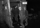 Lofthouse Colliery, Yorkshire. Miners return to work after the 1974 miners strike that forced the Heath government to call an election on the issue of Who runs the country? - NLA - 1970s,1974,capitalism,Coal Industry,coalfield,coalindustry,collieries,Colliery,EBF,Economic,Economy,employee,employees,Employment,extracting,government,Industries,industry,job,jobs,LBR,Lofthouse colli
