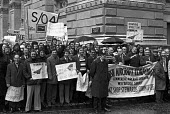 Workers lobby Downing Street calling on Tony Benn to save Concorde London 1974 Produced by British Aircraft Corporation in Bristol - NLA - 23-05-1974