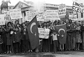 London 1974 Turkish Cypriots demonstrate at the Turkish invasion of the country which followed the Greek Junta inspired military coup in Cyprus - NLA - 18-08-1974