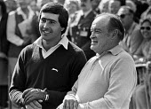 Seve Ballesteros and Bob Hope talking, Classic Celebrity Pro-Am Golf Tournament held at the RAC Golf and Country Club, Surrey 1980 - NLA - 1980,1980s,ACE,ACTING,Actor,actors,Arts,Bob Hope,celebrities,celebrity,Charity Shield,communicating,communication,conversation,Culture,dialogue,golf,male,man,men,people,person,persons,Seve Balasteros,
