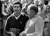 Spanish professional golfer Seve Ballesteros and entertainer Bob Hope talking, Classic Celebrity Pro-Am Golf Tournament held at the RAC Golf and Country Club, Surrey 1980 - NLA - 1980,1980s,ACE,ACTING,Actor,actors,Arts,Bob Hope,celebrities,celebrity,comedian,COMEDIANS,comedy,communicating,communication,conversation,Culture,dialogue,ENTERTAINER,ENTERTAINERS,FUNNY,golf,HUMOROUS,