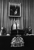 Sir Geoffrey Allen, Science Research Council speaking at a press conference, The Royal Society, London, 1980. To reflect the increased emphasis on engineering research, the SRC was to be renamed the S... - Peter Arkell - 06-11-1980