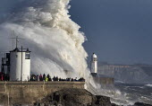 Waves from Storm Ophelia smashing into lighthouse and seawall, Porthcawl, South Wales - Paul Box - 2010s,2017,Atlantic Ocean,CLIMATE,Climate Change,coast,coastal,coasts,conditions,defenses,ENI,environment,Environmental Issues,gale,gale force,gales,Global Warming,harbor,harbors,harbour,harbours,ligh