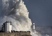 Waves from Storm Ophelia smashing into lighthouse and seawall, Porthcawl, South Wales - Paul Box - 16-10-2017