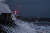 Waves from Storm Ophelia smashing into lighthouse and seawall, Porthcawl, South Wales - Paul Box - 2010s,2017,Atlantic Ocean,CLIMATE,Climate Change,coast,coastal,coasts,conditions,darkness,defenses,dusk,ENI,environment,Environmental Issues,EVENING,gale,gale force,gales,Global Warming,harbor,harbors