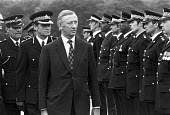 1973 Robert Carr MP inspecting police officers graduating from Senior Command course, National Police College, Bramshill, Hartley Wintney, Hampshire. Commandant John Alderson (L) - Peter Arkell - 10-08-1973