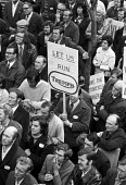 Protest by Triumph Meriden motorcycle factory workers 1973 during sit in and occupation of factory threatened with closure, Birmingham - Peter Arkell - 1970s,1973,activist,activists,banner,banners,bike,Birmingham,CAMPAIGNING,CAMPAIGNS,capitalism,CLOSED,closing,closure,closures,DEMONSTRATING,Demonstration,FACTORIES,factory,FEMALE,Industries,industry,j
