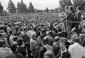 Mass meeting during strike by Chrysler car workers at the Stoke plant, Coventry 1973. Strike over pay and jobs in the declining car industry - NLA - 1970s,1973,AUEW,auto,automotive,Automotive Industry,capitalism,Car Industry,carindustry,Chrysler strike,cities,City,democracy,disputes,FACTORIES,factory,Industrial dispute,Industries,industry,male,man