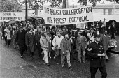Stop British collaboration with fascist Portugal 1973. Protest against British support for Portuguese dictator Marcelo Caetano, London - NLA - 16-07-1973