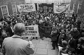 1973 Protest by AUEW members outside the National Industrial Relations Court (NIRC), London. The court had fined the union heavily for defying a court order in conncection with a recognition dispute a... - NLA - 1970s,1973,activist,activists,anti union legislation,AUEW,banner,banners,CAMPAIGNING,CAMPAIGNS,cities,City,Con-Mech,Court,DEMONSTRATING,Demonstration,dispute,EETPU,Industrial Relations Act 1971,laws,m