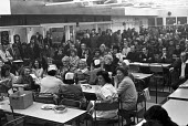 Mass meeting of Triumph workers in occupation of their factory, 1973 to prevent its closure, Meriden, near Coventry - NLA - 1970s,1973,CLOSED,closing,closure,closures,FACTORIES,factory,FEMALE,job loss,Job Losses,jobs,loss,losses,male,man,Mass,Mass Meeting,mass meetings,meeting,MEETINGS,member,member members,members,men,Mer