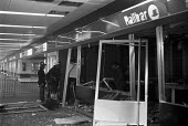 IRA Bombing 1973, blowing up a snack bar at Euston Railway station injuring eight people, London - NLA - 1970s,1973,adult,adults,bomb,bomb blast,bombing,bombings,bombs,catholic,catholics,cities,City,Conflict,Conflicts,damage,damaged,destroyed,destruction,device,devices,Euston,Euston bomb,Explosion,EXPLOS