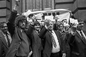 AUEW protest, National Industrial Relations Court London, 1974 Jeremy Corbyn (L) presenting cheques - NLA - 1970s,1974,activist,activists,anti union law,Anti Union laws,anti union legislation,AUEW,banner,banners,campaign,campaigning,CAMPAIGNS,cities,City,Court,DEMONSTRATING,Demonstration,fine,fines,Industri