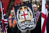 The Orange Order marching to The Cenotaph, Remembrance Day, Whitehall, London - Jess Hurd - Orange Order,2010s,2017,ACE,banner,banners,Belief,Cenotaph,comemoration,conviction,Culture,dead,faith,flag,flags,GOD,LIFE,LOL,London,Loyal Orange Institution,loyalism,loyalist,loyalists,march,marching