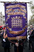 The Orange Order marching to The Cenotaph, Remembrance Day, Whitehall, London. Friends of Ulster - Jess Hurd - Orange Order,2010s,2017,ACE,banner,banners,Belief,Cenotaph,comemoration,conviction,Culture,dead,faith,Friends,GOD,LIFE,LOL,London,Loyal Orange Institution,loyalism,loyalist,loyalists,march,marching,Or