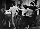 Berliner Ensemble rehearsing, first ever tour of UK, London 1956 - Alan Vines - 1950s,1956,1st,ACE,act,acting,actor,actors,Arts,Berliner Ensemble,Bertolt Brecht,Culture,Ensemble,Epic theatre,first,London,male,man,men,modern,modernism,modernist,modernists,Pauken und Trompeten,peop