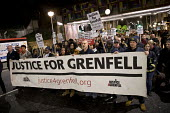 Matt Wrack, FBU and firefighters join Justice for Grenfell silent walk, Kensington and Chelsea, London. - Jess Hurd - 14-11-2017