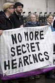 Jenny Jones, Green Party, Protest against Police anonymity at The Public Inquiry into Undercover Policing, Royal Courts of Justice, London. The Campaign Opposing Police Surveillance publicises and sup... - Jess Hurd - 20-11-2017