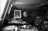 Edward Bawden painter Great Bardfield Artist in his studio 1958. The Great Bardfield Artists were a community of artists who lived in Great Bardfield, a village in north west Essex. They lived togethe... - Alan Vines - 03-07-1958