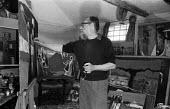 Stanley Clifford-Smith Great Bardfield Artist painting in his studio, Great Bardfield 1958. The Great Bardfield Artists were a community of artists who lived in Great Bardfield, a village in north wes... - Alan Vines - 03-07-1958