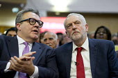 Tom Watson speaking with Jeremy Corbyn, Labour Party Rally West Bromwich - John Harris - 2010s,2017,communicating,communication,conversation,conversations,dialogue,discourse,discuss,discusses,discussing,discussion,Jeremy Corbyn,Labour Party,MP,MPs,Party,POL,political,politician,politician