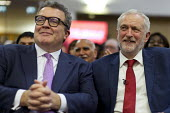Tom Watson speaking with Jeremy Corbyn, Labour Party Rally West Bromwich - John Harris - 2010s,2017,Jeremy Corbyn,Labour Party,MP,MPs,Party,POL,political,politician,politicians,Politics,rallies,rally,SPEAKER,SPEAKERS,speaking,SPEECH,Tom Watson