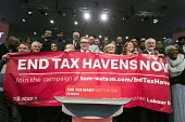 John McDonnell, Tom Watson, Jeremy Corbyn, End Tax Havens Now banner, Labour Party Rally West Bromwich - John Harris - 2010s,2017,Jeremy Corbyn,Labour Party,MP,MPs,Party,POL,political,politician,politicians,Politics,rallies,rally,Tom Watson