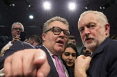 Tom Watson, Jeremy Corbyn shaking hands Labour Party Rally West Bromwich - John Harris - 2010s,2017,hands,Jeremy Corbyn,Labour Party,MP,MPs,Party,POL,political,politician,politicians,Politics,rallies,rally,Tom Watson