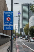 Sign for the London Congestion Charging Zone, Euston - Philip Wolmuth - 2010s,2017,AUTO,AUTOMOBILE,AUTOMOBILES,AUTOMOTIVE,BT Tower,bus lane,car,cars,Charging,cities,city,communicating,communication,CONGESTED,Congestion,Congestion Charge,Congestion Charge,EBF,Economic,Econ