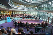 London Assembly members leaving the chamber as Switched On London environmental campaigners bring Mayors Question Time to a standstill to demand Mayor Sadiq Khan keeps his climate change promises. Cit... - Philip Wolmuth - 16-11-2017