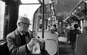 Labour Peer Lord Fenner Brockway 1965 founder and chairman of Movement for Colonial Freedom en route to Parliament on the Northern line of the London Underground - Romano Cagnoni - 04-08-1965