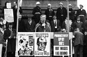 Tony Benn MP speaking Miners strike and supporters protest 1972 Trafalgar Square London for a pay increase - Mike Tull - 1970s,1972,activist,activists,against,CAMPAIGN,campaigner,campaigners,CAMPAIGNING,CAMPAIGNS,cities,City,DEMONSTRATING,Demonstration,DEMONSTRATIONS,disputes,EARNINGS,Income,INCOMES,industrial dispute,i