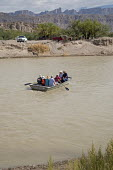 Boquillas del Carmen, Coahuila, Mexico Mexican rowing tourists across the Rio Grande border from Big Bend National Park to visit the Mexican town of Boquillas - Jim West - 05-11-2017