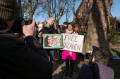 Tulip Siddiq MP, rally for the release of her constituent Nazanin Zaghari-Ratcliffe from prison in Iran, West Hampstead, London - Philip Wolmuth - 2010s,2017,activist,activists,Asian,Asians,BAME,BAMEs,Bangladeshi,Bangladeshis,Black,Black and White,BME,bmes,camera,cameras,CAMPAIGNING,CAMPAIGNS,DEMONSTRATING,demonstration,diversity,ethnic,ethnicit