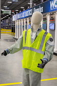 Romulus Michigan USA Mannequin wearing a safety vest and a United AWU emblem, Mopar auto parts distribution centre. Mopar is the auto parts operation of Fiat Chrysler Automobiles - Jim West - 06-12-2017