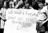 Young children join their parents engineering workers from CA Parsons, Newcastle 1977 protest against the amalgamation with Clarke Chapman to form Northern Engineering Industries plc as they fear a co... - John Sturrock - 1970s,1977,activist,activists,against,boy,boys,campaign,campaigning,CAMPAIGNS,capitalism,child,CHILDHOOD,children,DEMONSTRATING,Demonstration,engineeering,engineer,engineering industry,engineers,FAMIL